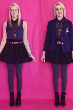 navy school girl blazer - navy chiffon supre shirt