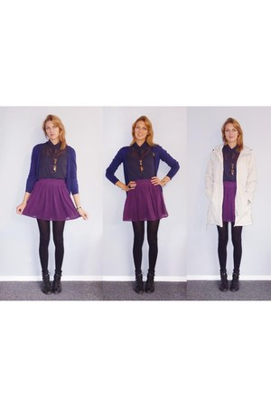 purple handmade skirt - black Overland boots - off white kathmandu jacket