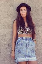 leo bustier Forever21 bra - denim vintage skirt