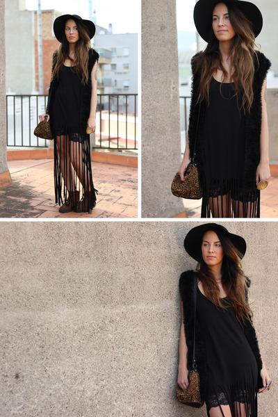 diy dress H M dress - black hat Indiska hat b219bbb33e0