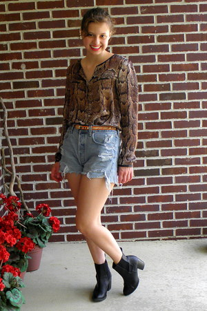 brown H&M shirt - black H&M boots - light blue cutoffs Levis shorts