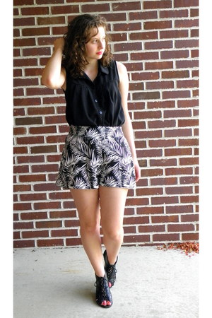 black material girl wedges - white H&M shorts - black button down Marshalls top