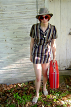 vintage hat - forever 21 sunglasses - FashionMonger Vintage dress - trotters sho