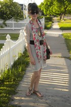 dark khaki double layer tini lili dress - hot pink floral scarf