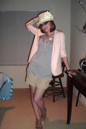 pink Forever 21 blazer - purple Forever 21 blouse - beige Forever 21 shorts - be