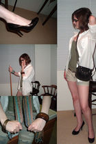 white Forever 21 shirt - beige Aeropostale shorts - green Wet Seal shirt - brown