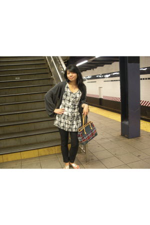 coach bag - gold Nine West shoes - kimchi & blue top - gray Macys cardigan - bla