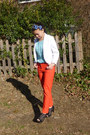 Black-payless-shoes-white-h-m-blazer-carrot-orange-h-m-pants