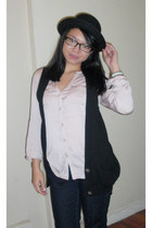 black Uniqlo jeans - black bowler hat H&M hat - light pink NY and Co blouse