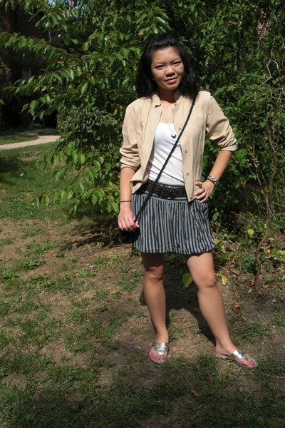 beige Kate Hill Petites jacket - gray Old Navy skirt - silver Nine West shoes -