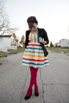 American Apparel tights - modcloth dress - H&M blazer - Target heels