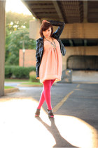 Forever 21 dress - leather jacket Jack by BB Dakota jacket - Express tights - Ta