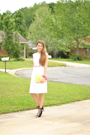 black METROSTYLE heels - white JCPenney dress - yellow Clinique bag