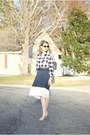 Dark-brown-unknown-sunglasses-tan-steve-madden-heels-navy-loft-skirt