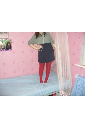 American Apparel sweater - American Apparel skirt - tights