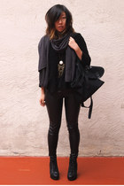 black Zara sweater - charcoal gray TNA scarf - black The Medium Control bag