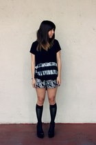 black Forever 21 shirt - black Uniqlo shorts - black H&M wedges