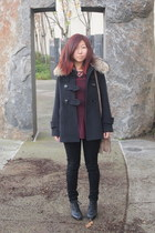 dark gray Spiral girl coat - maroon Topshop blouse - black Topshop pants