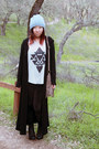 Black-cotton-on-leggings-off-white-tobi-top-black-maxi-thrifted-cardigan