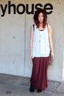 White-fringed-free-people-top-maroon-brandy-melville-skirt