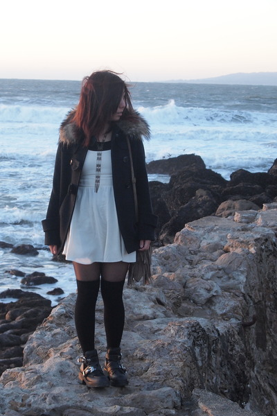 black Jeffrey Campbell boots - ivory For Love and Lemons dress
