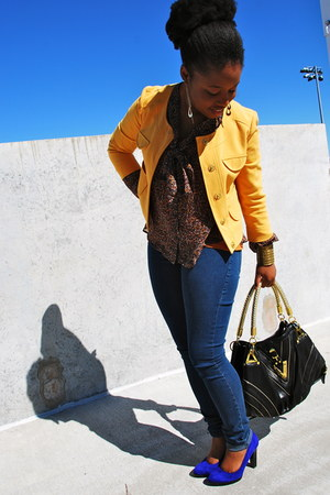blue suede Nine West heels - mustard mustard Forever21 jacket