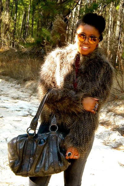 faux fur JCPenney coat - gray Macys pants