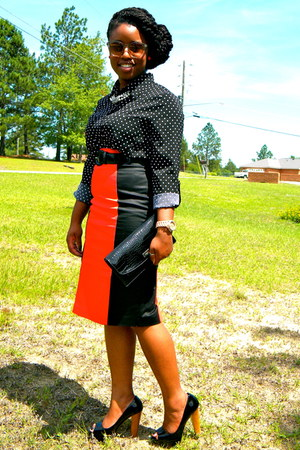 black polka dots top - ruby red Worthington skirt