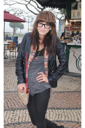 Ksubi jeans - Stella Forest Leather jacket - Burberry scarf - DKNY bag - DKNY to