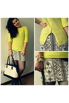 Zara jumper - Primark bag - Zara skirt