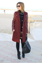crimson Zara coat - black ankle boots IRO boots - black pandora Givenchy bag