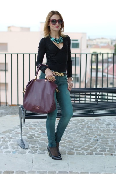 forest green H&M pants - dark brown Marc by Marc Jacobs bag
