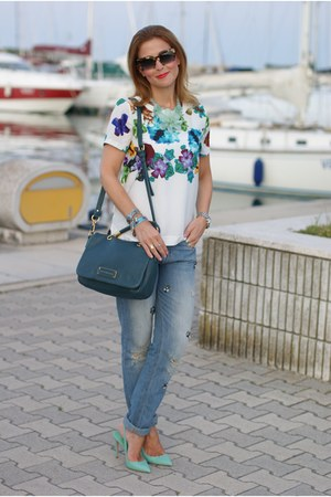 sky blue Zara jeans - teal Marc by Marc Jacobs bag