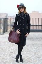 black balenciaga coat - black ankle boots cesare paciotti boots