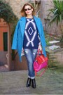 Black-giampaolo-viozzi-boots-sky-blue-ovoid-shape-choies-coat