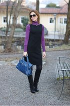 black Gaia deste boots - black handmade dress - blue city balenciaga bag