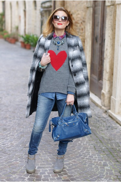 silver heart By Paprika sweater - heather gray Zara coat - sky blue REPLAY jeans