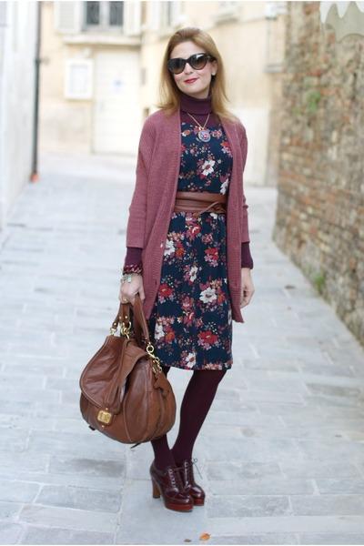 navy floral print gazel dress - brown Juicy Couture bag