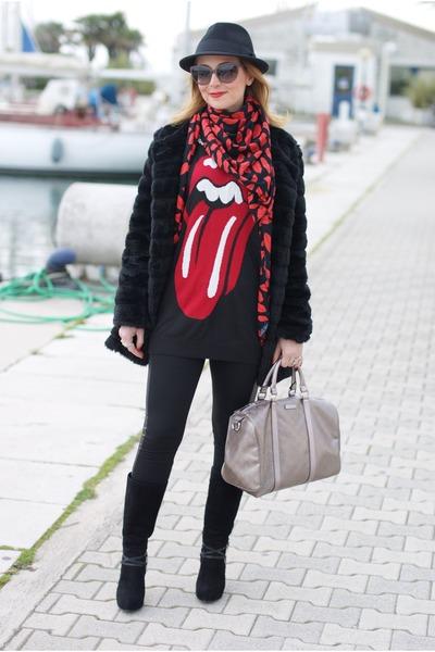 black cesare paciotti boots - black H&M hat - black PERSUNMALL sweater