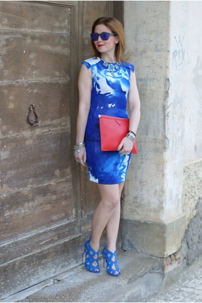 blue blackfive dress - ruby red Zara bag - blue Oakley sunglasses