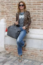 brown leopard print Zara blazer - heather gray nightingale bag Givenchy bag