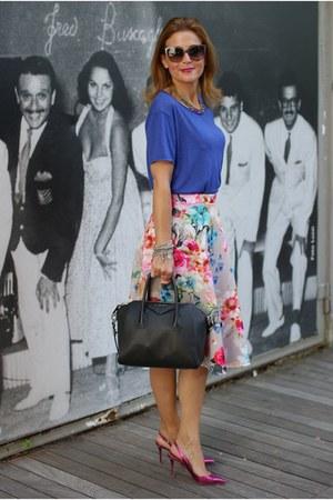 hot pink floral midi asos skirt - black Givenchy bag - hot pink Le Silla heels