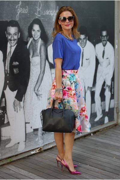 ea159875fa60 hot pink floral midi asos skirt - black Givenchy bag - hot pink Le Silla  heels