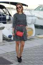 red Zara bag - black blackfive dress - red Spitfire sunglasses