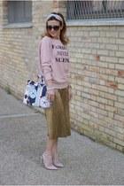 mustard Zara skirt - periwinkle movida Salce197 bag