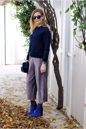 navy Save My Bag bag - blue Vigevano Shoes boots - periwinkle Glamorous pants