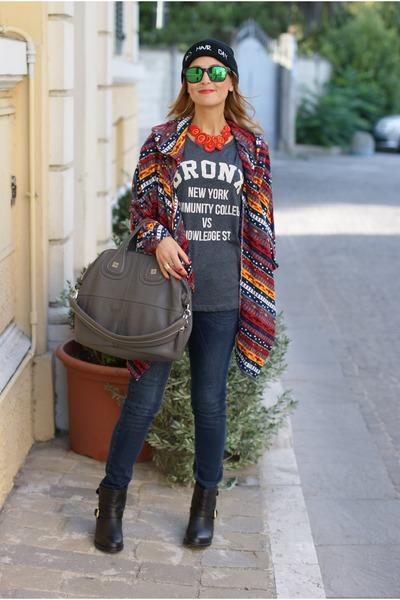 red coatigan asos cardigan - black Carmens Padova boots - blue Zara jeans