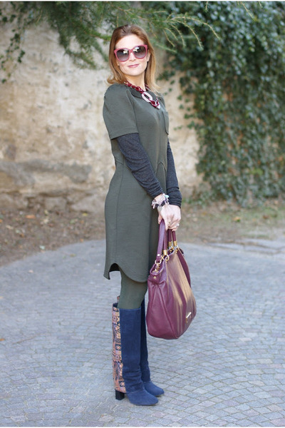 olive green Marc by Marc Jacobs dress - blue asos boots