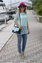 light blue Chicwish top - blue Zara jeans - hot pink Ecua-andino hat