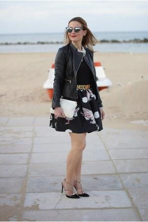 black asos jacket - black zaful dress - white Miu Miu bag